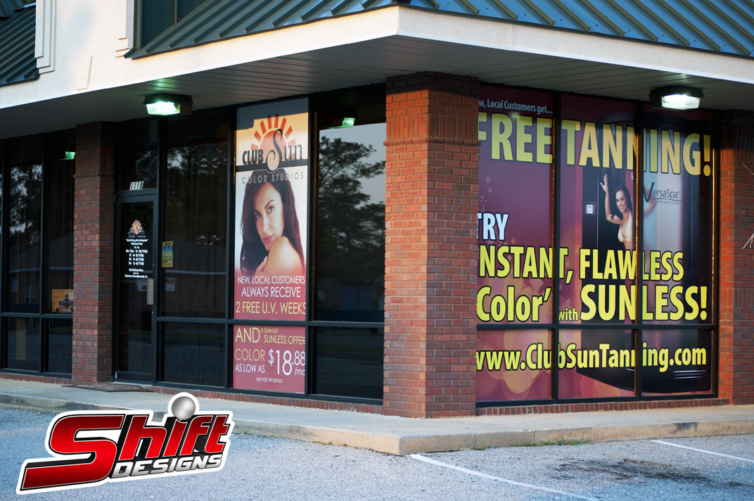 Club Sun Tanning Window Wraps With Perforated Vinyl