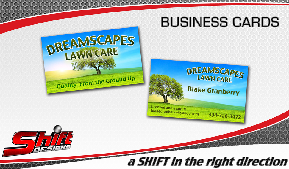 Dreamscapes lawn care business card shift designs dramscapes biz card cheaphphosting Image collections